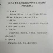 洞口县中医医院新型冠状病毒感染的肺炎中药防控处方